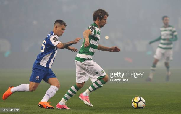 Sporting CP defender Fabio Coentrao from Portugal with FC Porto forward Otavio from Brazil in action during the Primeira Liga match between FC Porto...