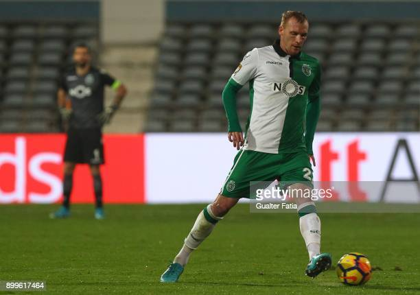 Sporting CP defender Jeremy Mathieu from France in action during the Portuguese League Cup match between CF Os Belenenses and Sporting CP at Estadio...