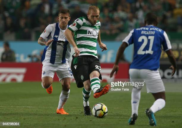 Sporting CP defender Jeremy Mathieu from France with FC Porto forward Otavio from Brazil in action during the Portuguese Cup match between Sporting...