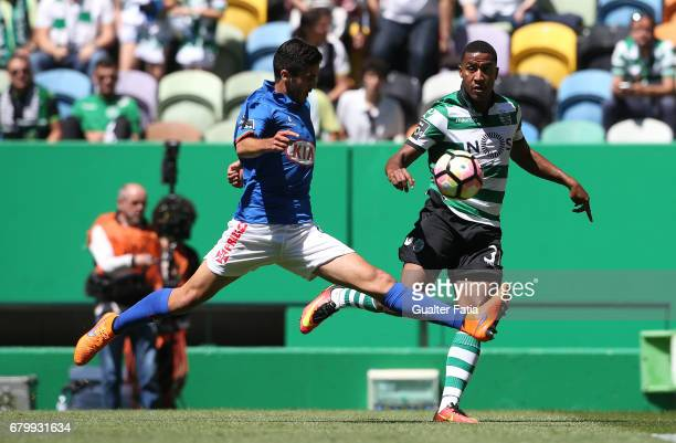 Sporting CP defender Marvin Zeegelaar from Holland with Belenenses's defender Dinis Almeida from Portugal in action during the Primeira Liga match...