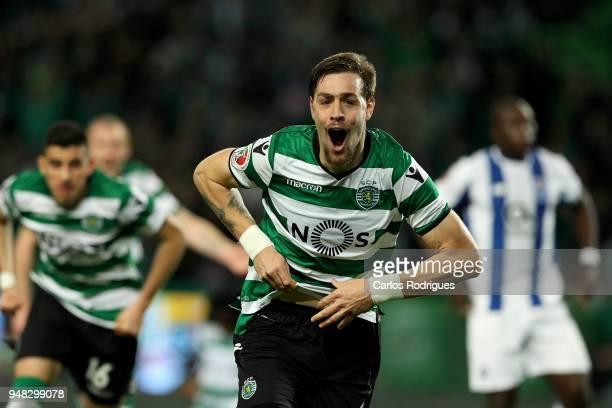 Sporting CP defender Sebastian Coates from Uruguay celebrates scoring Sporting goal during the Sporting CP v FC Porto Portuguese Cup semi finals 2...