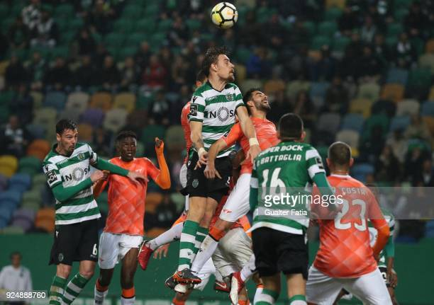 Sporting CP defender Sebastian Coates from Uruguay with Moreirense FC defender Andre Micael from Portugal in action during the Primeira Liga match...