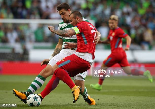 Sporting CP defender Sebastian Coates from Uruguay with Steaua Bucuresti FC forward Denis Alibec from Romania in action during the UEFA Champions...