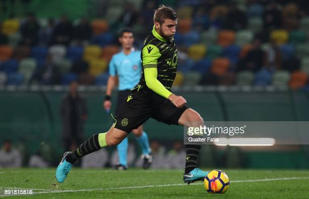 Sporting CP defender Stefan Ristovski from Macedonia in action during the Portuguese Cup match between Sporting CP and Vilaverdense at Estadio Jose...