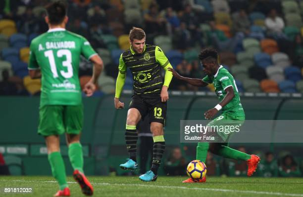 Sporting CP defender Stefan Ristovski from Macedonia with Vilaverdense FC midfielder Ahmed Isaiah in action during the Portuguese Cup match between...