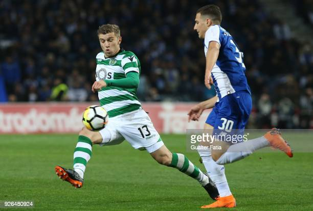 Sporting CP defender Stefan Ristovski from Macedonia with FC Porto defender Diogo Dalot from Portugal in action during the Primeira Liga match...