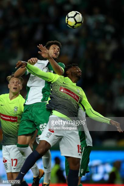 Sporting CP defender Tobias Figueiredo from Portugal heads the ball during the match between Sporting CF v CS Maritimo for the Taca da Liga 2017/2018...