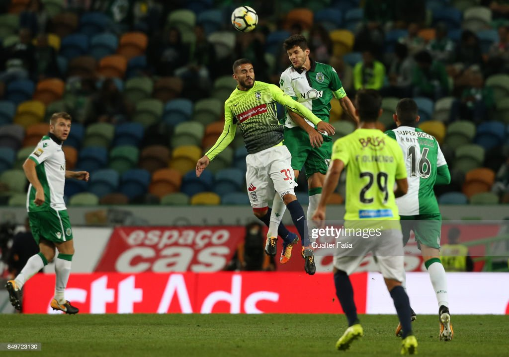 Sporting CP defender Tobias Figueiredo from Portugal with CS Maritimo forward Ricardo Valente from Portugal in action during the Portuguese League Cup match between Sporting CP and CS Maritimo at Estadio Jose Alvalade on September 19, 2017 in Lisbon, Portugal.