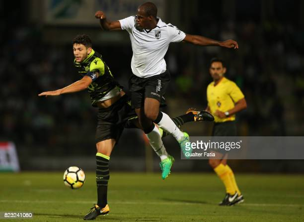 Sporting CP defender Tobias Figueiredo from Portugal with Vitoria Guimaraes forward Estupinan from Colombia in action during PreSeason Friendly match...