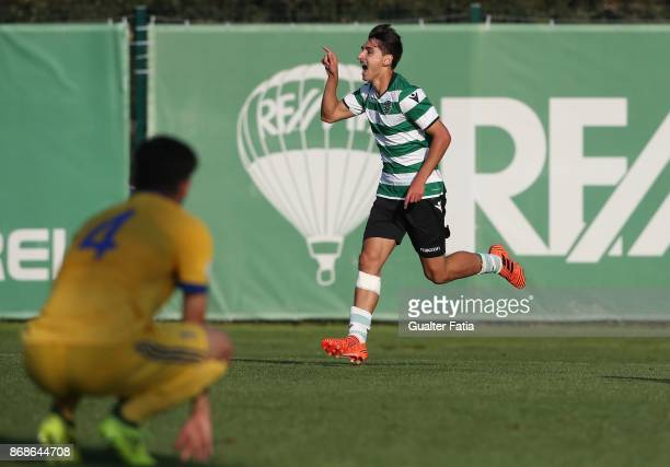 Sporting CP Diogo Bras celebrates after scoring a goal during the UEFA Youth League match between Sporting CP and Juventus at CGD Stadium Aurelio...