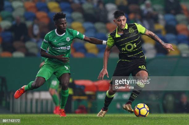 Sporting CP forward Alan Ruiz from Argentina with Vilaverdense FC midfielder Ahmed Isaiah in action during the Portuguese Cup match between Sporting...