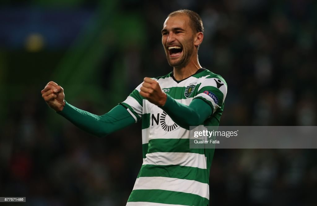 Sporting CP forward Bas Dost celebrates after scoring a goal during the UEFA Champions League match between Sporting Clube de Portugal and Olympiakos Piraeus at Estadio Jose Alvalade on November 22, 2017 in Lisbon, Portugal.