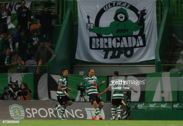 Sporting CP forward Bas Dost from Holland celebrates after scoring a goal during the Primeira Liga match between Sporting CP and SC Braga at Estadio...