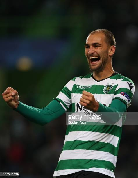 Sporting CP forward Bas Dost from Holland celebrates after scoring a goal during the UEFA Champions League match between Sporting Clube de Portugal...