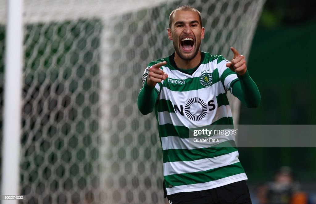 Sporting CP forward Bas Dost from Holland celebrates after scoring a goal during the Primeira Liga match between Sporting CP and CS Maritimo at Estadio Jose Alvalade on January 7, 2018 in Lisbon, Portugal.