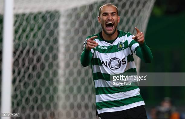 Sporting CP forward Bas Dost from Holland celebrates after scoring a goal during the Primeira Liga match between Sporting CP and CS Maritimo at...