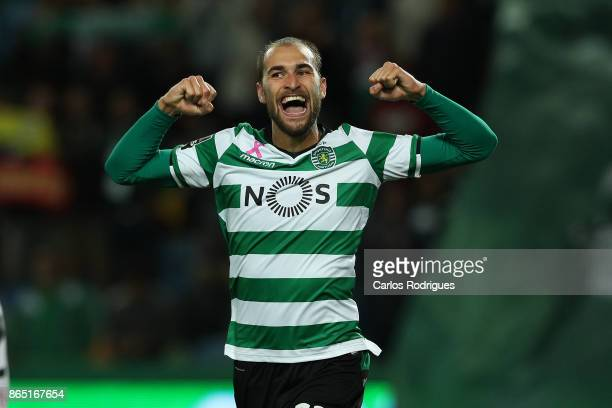 Sporting CP forward Bas Dost from Holland celebrates after scoring Sporting fifth goal during the Portuguese Primeira Liga round nine match between...
