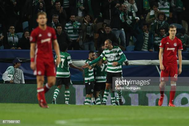 Sporting CP forward Bas Dost from Holland celebrates after scoring Sporting first goal during the UEFA Champions League match between Sporting CP and...
