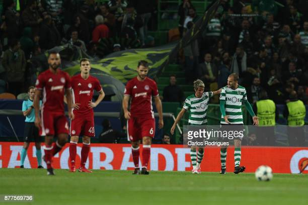 Sporting CP forward Bas Dost from Holland celebrates after scoring Sporting first goal with Sporting CP defender Fabio Coentrao from Portugal during...
