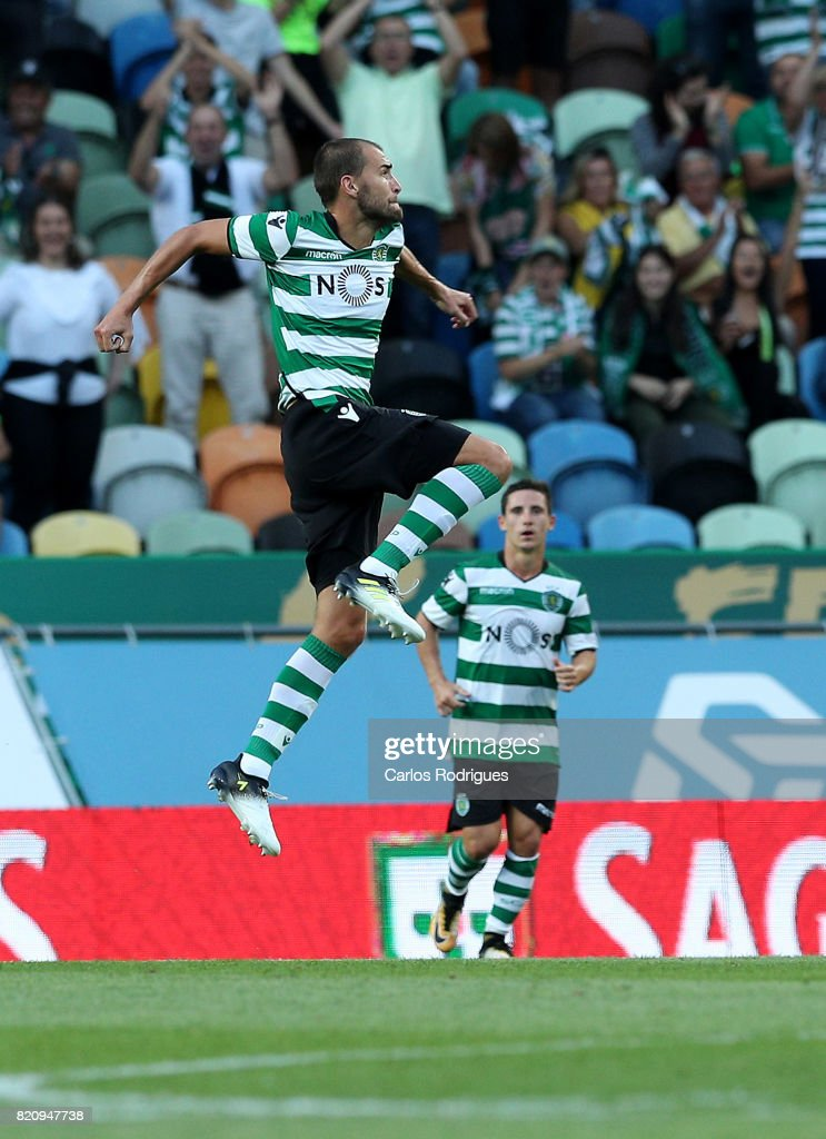 Sporting CP forward Bas Dost from Holland celebrates scoring Sporting second goal during the Friendly match between Sporting CP and AS Monaco at Estadio Jose Alvalade on July 22, 2017 in Lisbon, Portugal.