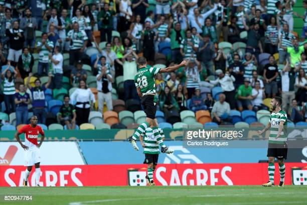 Sporting CP forward Bas Dost from Holland celebrates scoring Sporting second goal during the Friendly match between Sporting CP and AS Monaco at...