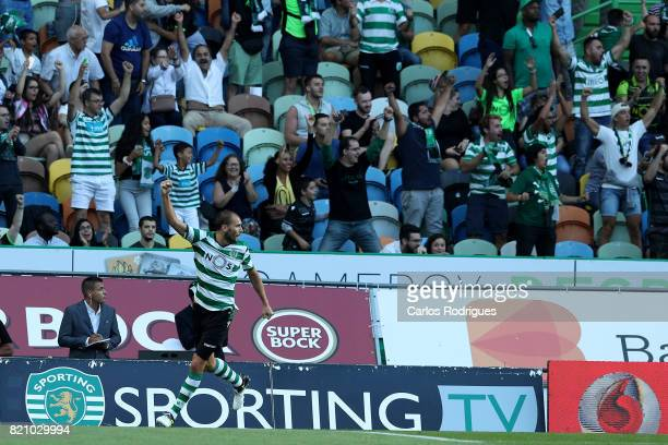 Sporting CP forward Bas Dost from Holland celebrates scoring Sporting goal during the Friendly match between Sporting CP and AS Monaco at Estadio...