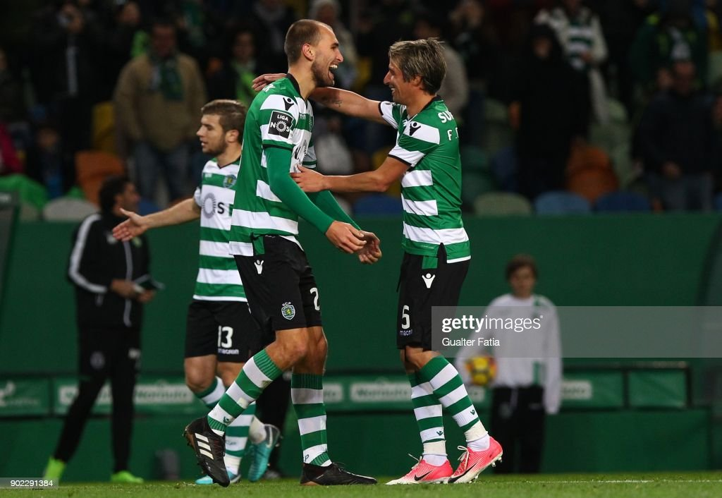 Sporting CP forward Bas Dost from Holland celebrates with teammate Sporting CP defender Fabio Coentrao from Portugal after scoring a goal during the Primeira Liga match between Sporting CP and CS Maritimo at Estadio Jose Alvalade on January 7, 2018 in Lisbon, Portugal.