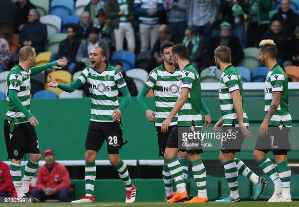 Sporting CP forward Bas Dost from Holland celebrates with teammate Sporting CP defender Jeremy Mathieu from France after scoring a goal during the...