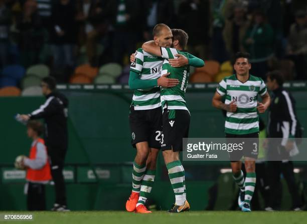 Sporting CP forward Bas Dost from Holland celebrates with teammates after scoring a goal during the Primeira Liga match between Sporting CP and SC...