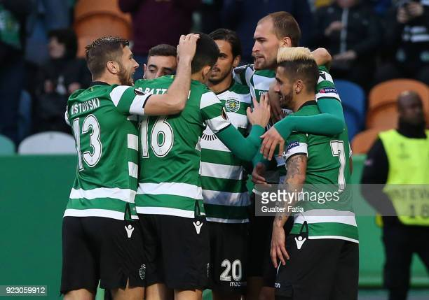 Sporting CP forward Bas Dost from Holland celebrates with teammates after scoring a goal during the UEFA Europa League match between Sporting CP and...