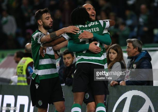 Sporting CP forward Bas Dost from Holland celebrates with teammates after scoring a goal during the Primeira Liga match between Sporting CP and Rio...
