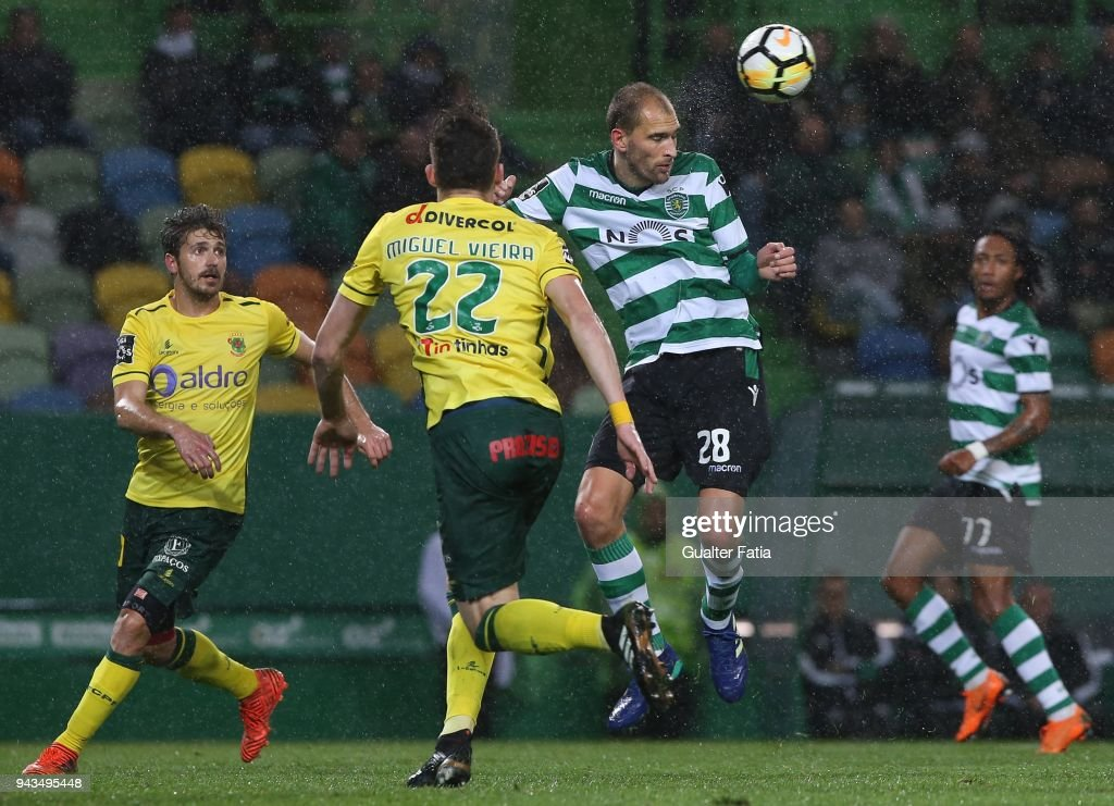 Sporting CP forward Bas Dost from Holland in action during the Primeira Liga match between Sporting CP and FC Pacos de Ferreira at Estadio Jose Alvalade on April 8, 2018 in Lisbon, Portugal.