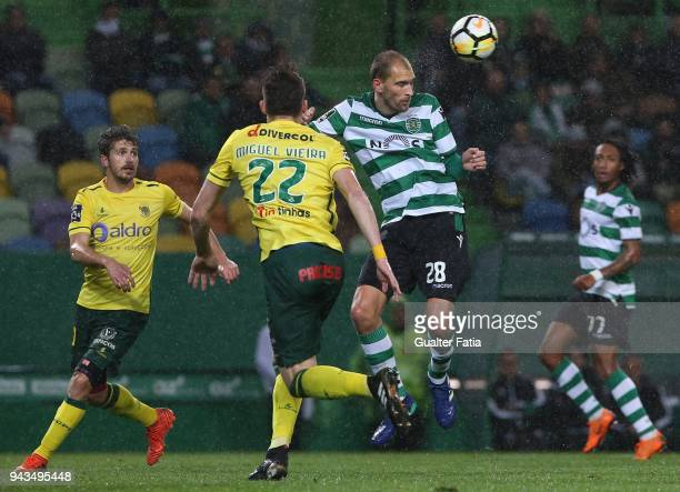 Sporting CP forward Bas Dost from Holland in action during the Primeira Liga match between Sporting CP and FC Pacos de Ferreira at Estadio Jose...