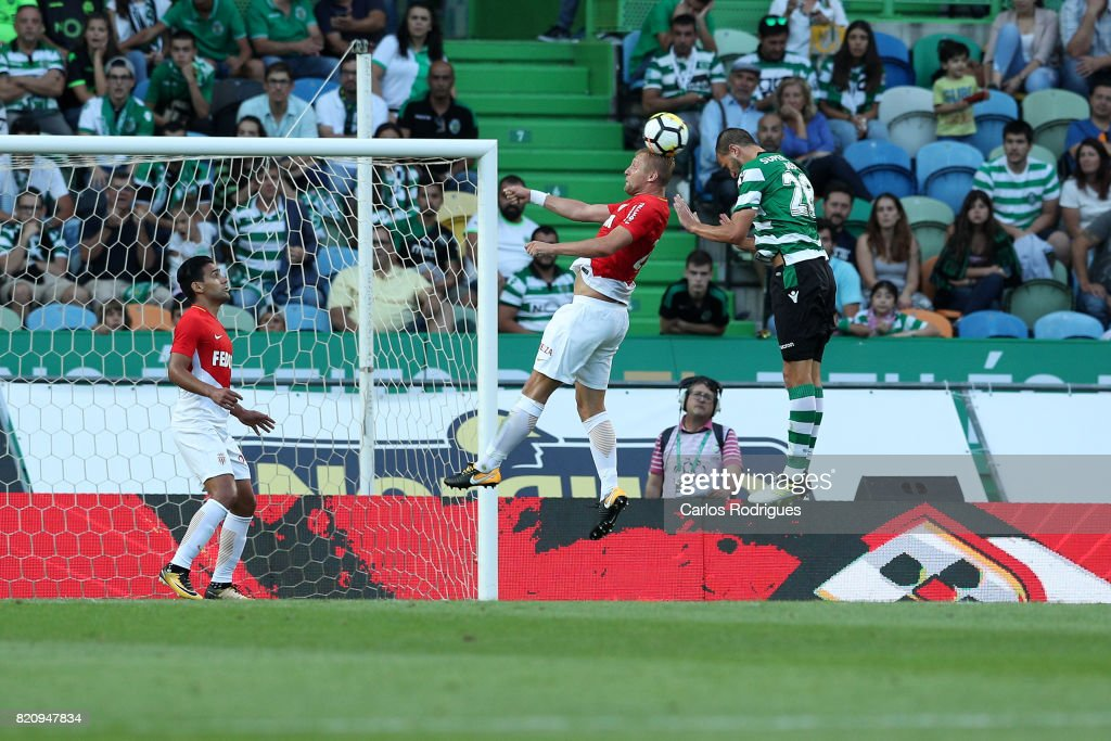 Sporting CP forward Bas Dost from Holland scores Sporting's second goal during the Friendly match between Sporting CP and AS Monaco at Estadio Jose Alvalade on July 22, 2017 in Lisbon, Portugal.