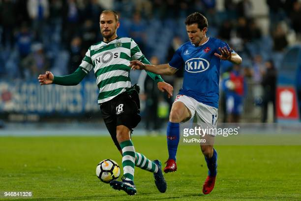 Sporting CP Forward Bas Dost from Netherlands and CF Os Belenenses Defender Bruno Pereirinha from Portugal during the Premier League 2017/18 match...