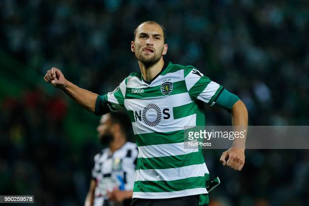 Sporting CP Forward Bas Dost from Netherlands celebrating after scoring a goal during the Premier League 2017/18 match between Sporting CP and...