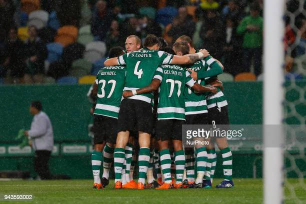 Sporting CP Forward Bas Dost from Netherlands celebrating with is team mate after scoring a goal during the Premier League 2017/18 match between...