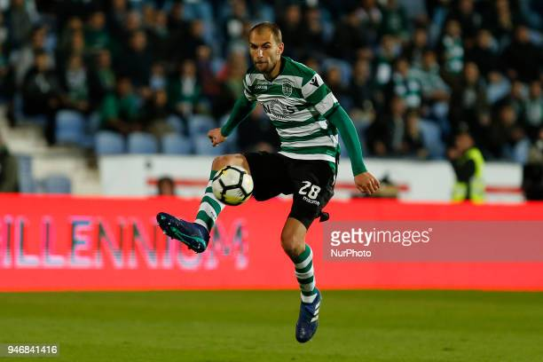 Sporting CP Forward Bas Dost from Netherlands during the Premier League 2017/18 match between CF Os Belenenses v Sporting CP at Estadio do Restelo in...