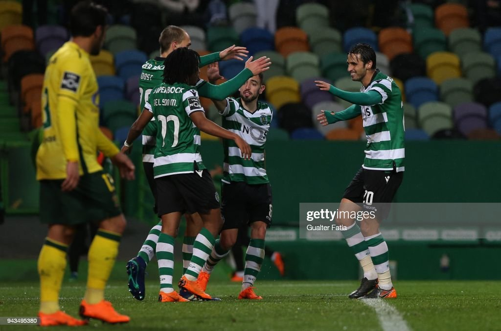 Sporting CP forward Bryan Ruiz from Costa Rica celebrates with teammates after scoring a goal during the Primeira Liga match between Sporting CP and FC Pacos de Ferreira at Estadio Jose Alvalade on April 8, 2018 in Lisbon, Portugal.