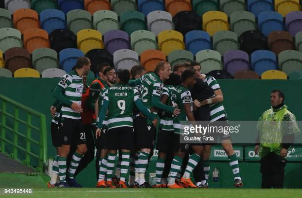 Sporting CP forward Bryan Ruiz from Costa Rica celebrates with teammates after scoring a goal during the Primeira Liga match between Sporting CP and...