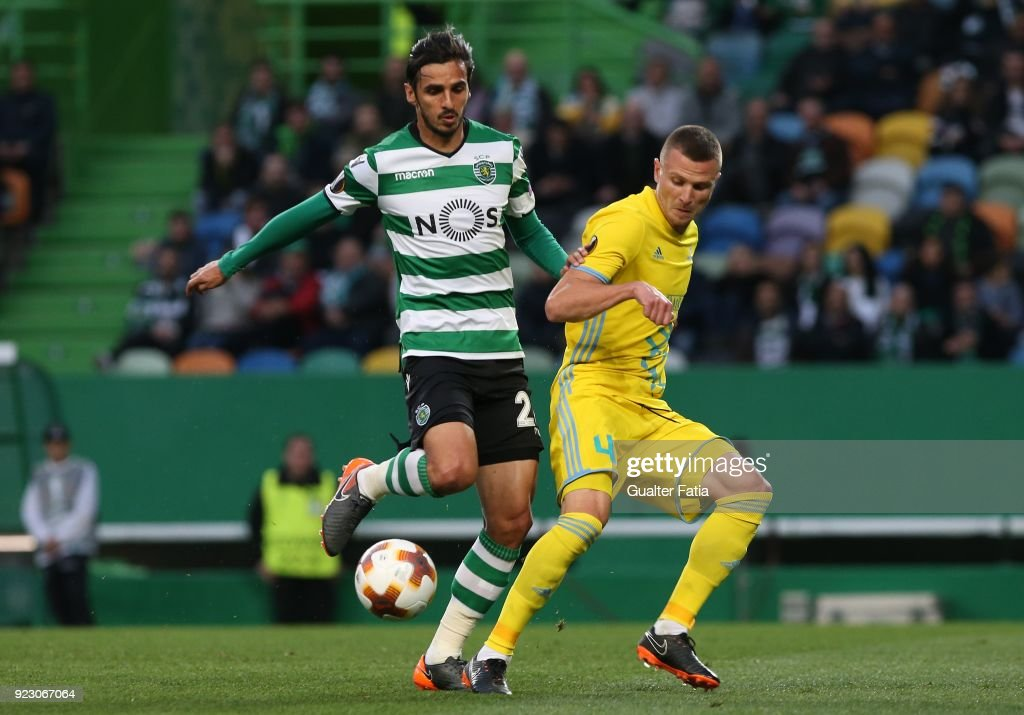 Sporting CP forward Bryan Ruiz from Costa Rica with FC Astana defender Igor Shitov from Bielorussia in action during the UEFA Europa League match between Sporting CP and FC Astana at Estadio Jose Alvalade on February 22, 2018 in Lisbon, Portugal.