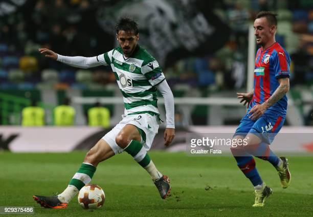 Sporting CP forward Bryan Ruiz from Costa Rica with FC Viktoria Plzen midfielder Martin Zeman from Czech Republic in action during the UEFA Europa...