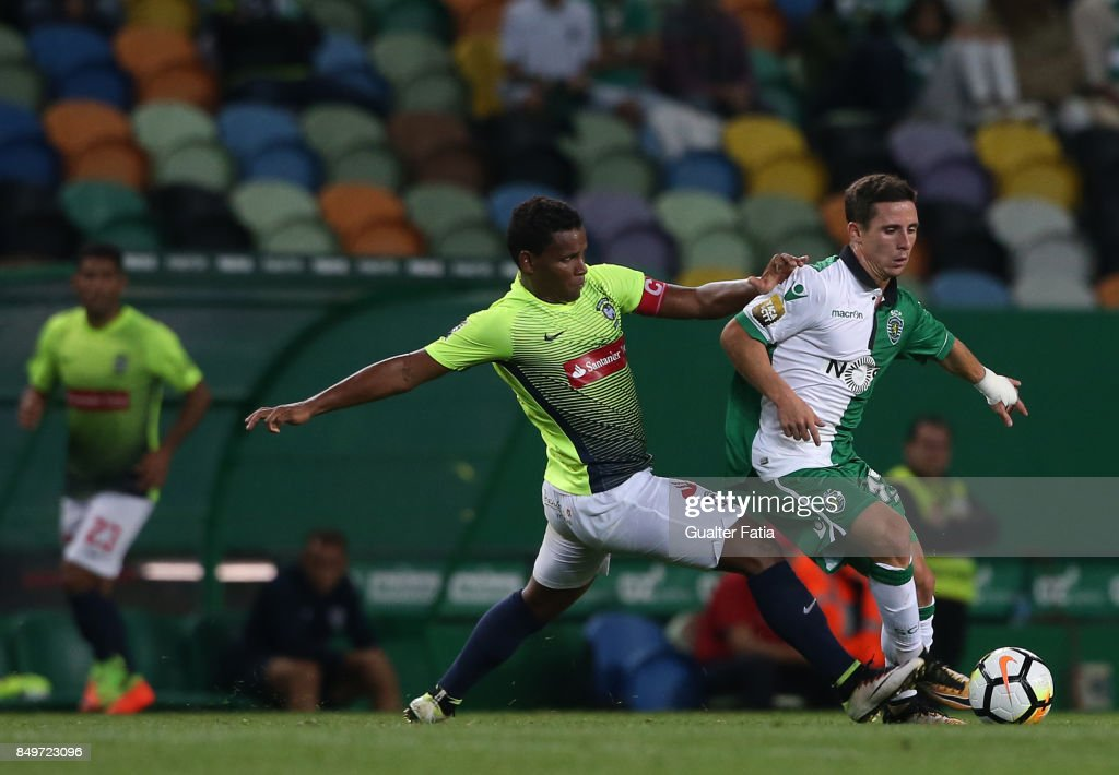 Sporting CP forward Daniel Pondence from Portugal with CS Maritimo midfielder Eber Bessa from Brazil in action during the Portuguese League Cup match between Sporting CP and CS Maritimo at Estadio Jose Alvalade on September 19, 2017 in Lisbon, Portugal.
