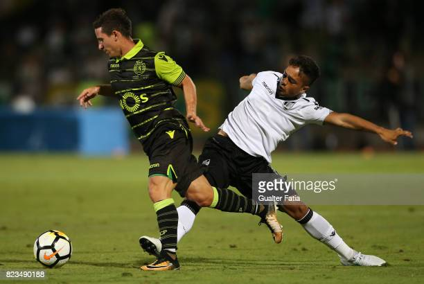 Sporting CP forward Daniel Pondence from Portugal with Vitoria Guimaraes midfielder Haashim Domingo from South Africa in action during PreSeason...
