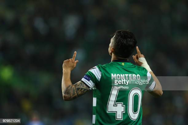 Sporting CP forward Freddy Monteiro from Colombia celebrating after scoring the second goal of the match during the UEFA Europa League match between...