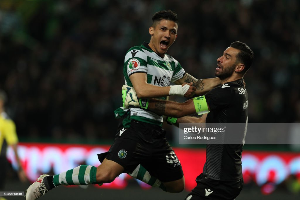 Sporting CP forward Freddy Montero from Colombia (L) and Rui Patricio (R) celebrates wining the Sporting CP v FC Porto - Portuguese Cup semi finals 2 leg at Estadio Jose Alvalade on April 18, 2018 in Lisbon, Portugal.
