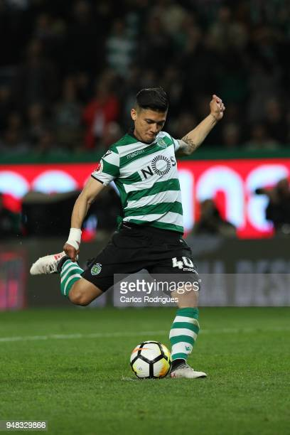 Sporting CP forward Freddy Montero from Colombia scores the last and decisive penalty kick during the Sporting CP v FC Porto Portuguese Cup semi...