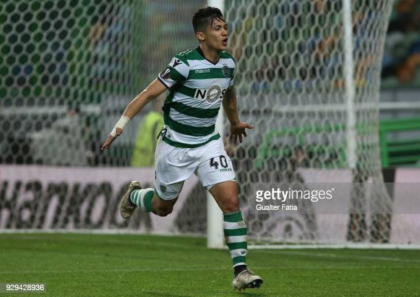 Sporting CP forward Fredy Montero from Colombia celebrates after scoring a goal during the UEFA Europa League Round of 16 First Leg match between...