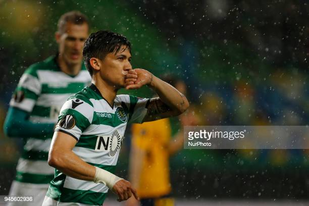 Sporting CP forward Fredy Montero from Colombia celebrates after scoring a goal during the match between Sporting CP and Atletico Madrid UEFA Europa...