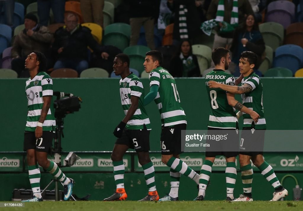 Sporting CP forward Fredy Montero from Colombia celebrates with teammates after scoring a goal during the Primeira Liga match between Sporting CP and CD Feirense at Estadio Jose Alvalade on February 11, 2018 in Lisbon, Portugal.